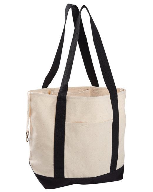 econscious 12 oz. Organic Cotton Canvas Boat Tote Bag - Natural/ Black