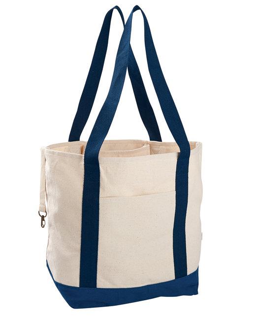 econscious 12 oz. Organic Cotton Canvas Boat Tote Bag - Natural/ Navy