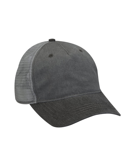 Adams Pigment-Dyed Twill & Mesh 5 Panel Trucker Cap - Chrcl/ Blk/ Gry