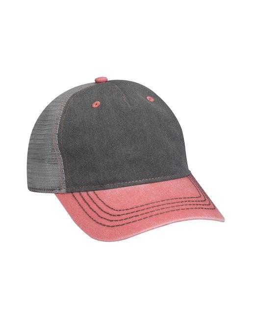 Adams Pigment-Dyed Twill & Mesh 5 Panel Trucker Cap - Chrcl/ Crl/ Gry
