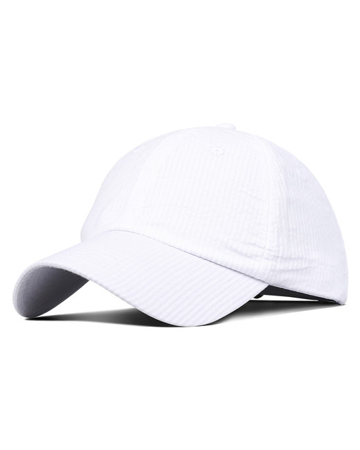 Fahrenheit Light Weight Cotton Seersucker Cap - White