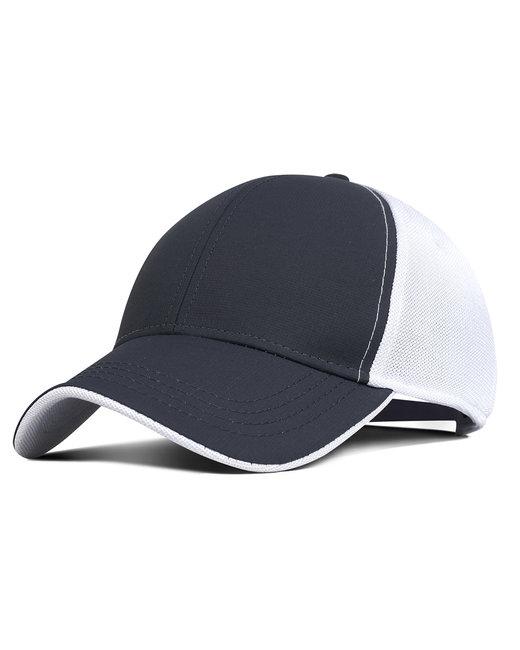 Fahrenheit Performance Pearl Nylon Mesh Back Cap - Charcoal/ Wht