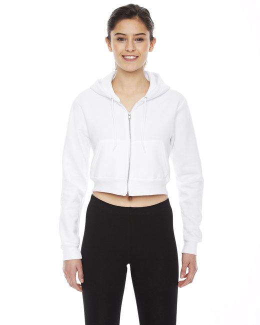 American Apparel Ladies' Cropped Flex Fleece Zip Hoodie - White