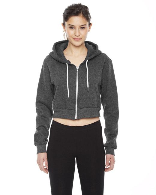 American Apparel Ladies' Cropped Flex Fleece Zip Hoodie - Dk Heather Grey