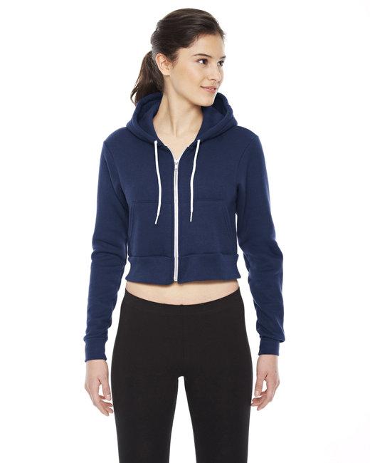 American Apparel Ladies' Cropped Flex Fleece Zip Hoodie - Navy