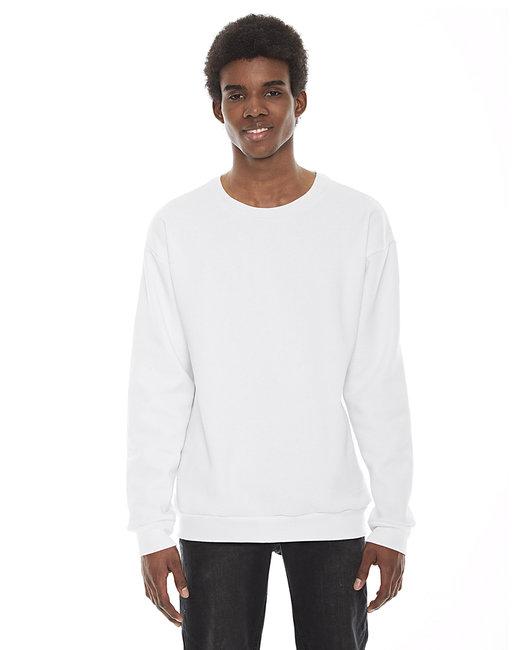 American Apparel Unisex Flex Fleece Drop Shoulder Pullover Crewneck - White