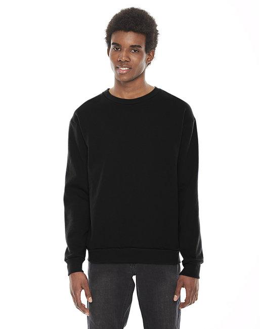 American Apparel Unisex Flex Fleece Drop Shoulder Pullover Crewneck - Black
