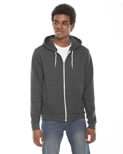 American Apparel Unisex Flex Fleece USA Made Zip Hoodie - Dark Hthr Grey