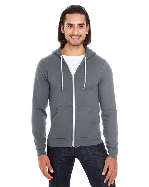 American Apparel Unisex Flex Fleece USA Made Zip Hoodie - Asphalt