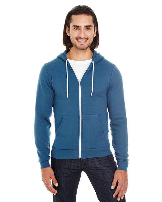 American Apparel Unisex Flex Fleece USA Made Zip Hoodie - Sea Blue