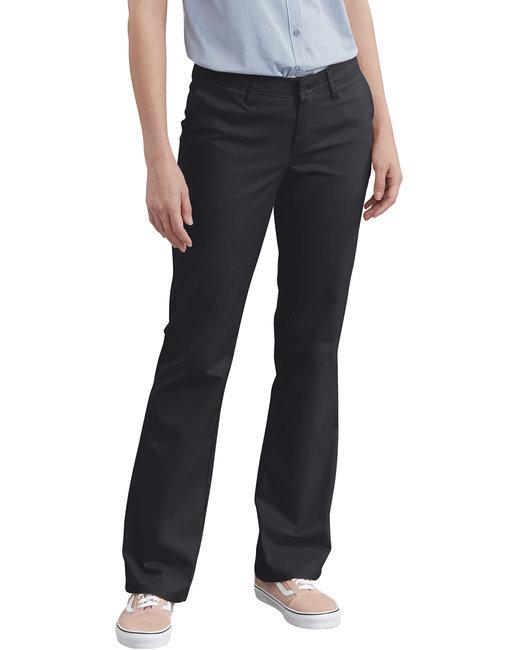 Dickies Ladies' Slim Fit Boot Cut Stretch Twill Pant - Black  02