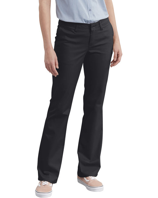 Dickies Ladies' Slim Fit Boot Cut Stretch Twill Pant - Black  04