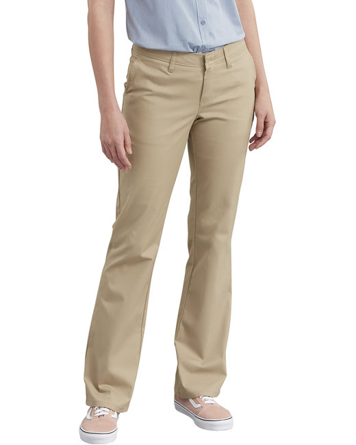 Dickies Ladies' Slim Fit Boot Cut Stretch Twill Pant - Desert Sand  02