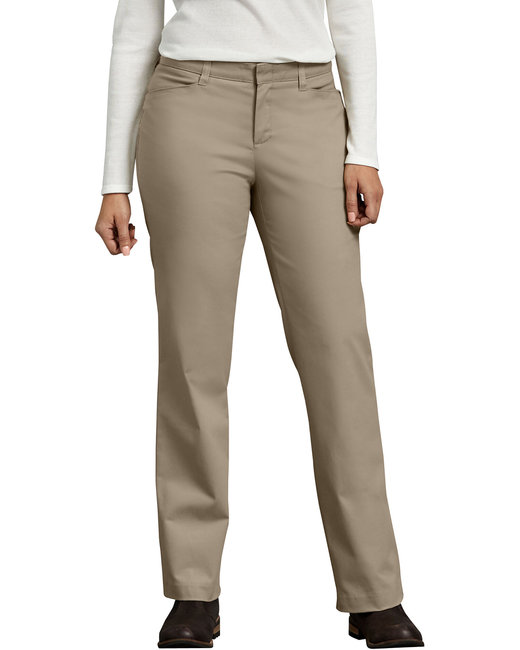 Dickies Ladies' Curvy Fit Straight Leg Flat Front Pant - Desert Sand  02