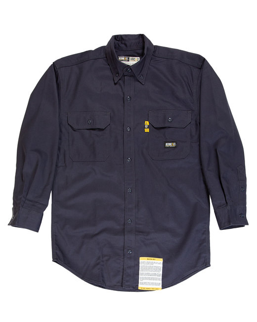 Berne Men's Flame-Resistant Button-Down Work Shirt - Navy