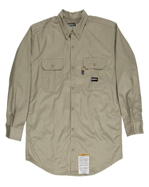 Berne Men's Tall Flame-Resistant Button Down Work Shirt - Khaki