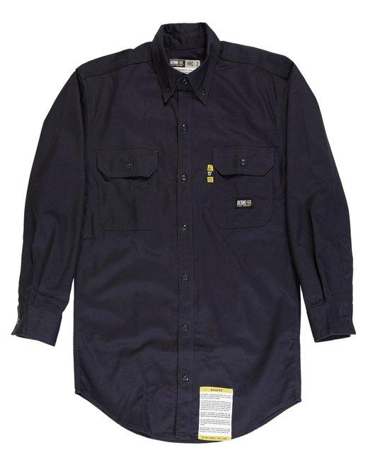 Berne Men's Tall Flame-Resistant Button Down Work Shirt - Navy