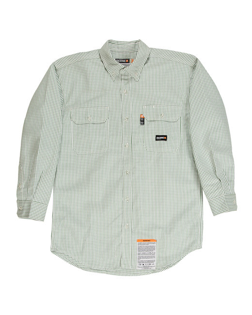 Berne Men's Flame-Resistant Down Plaid Work Shirt - Green