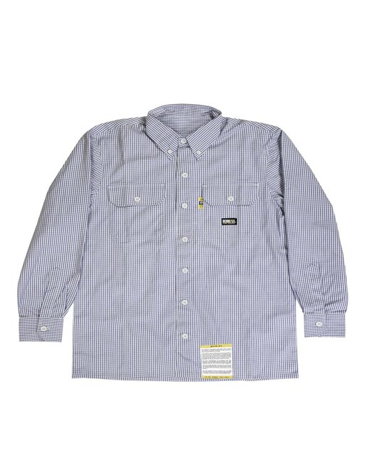 Berne Men's Flame-Resistant Down Plaid Work Shirt - Navy