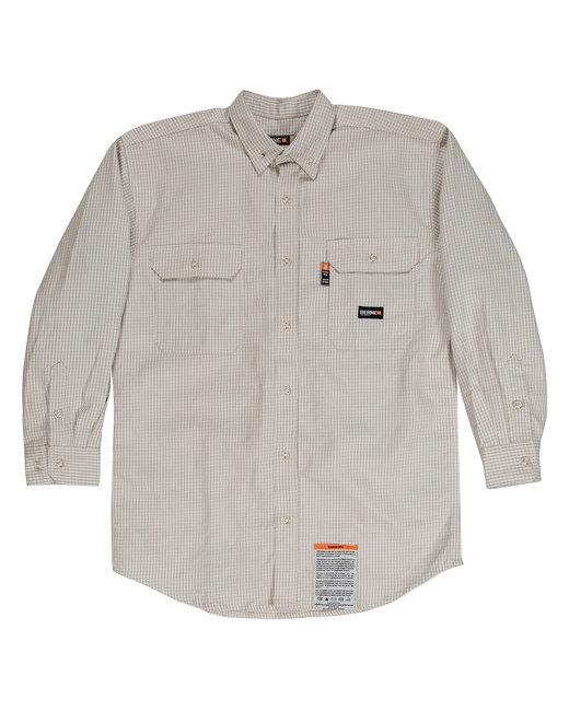 Berne Men's Tall Flame-Resistant Down Plaid Work Shirt - Khaki