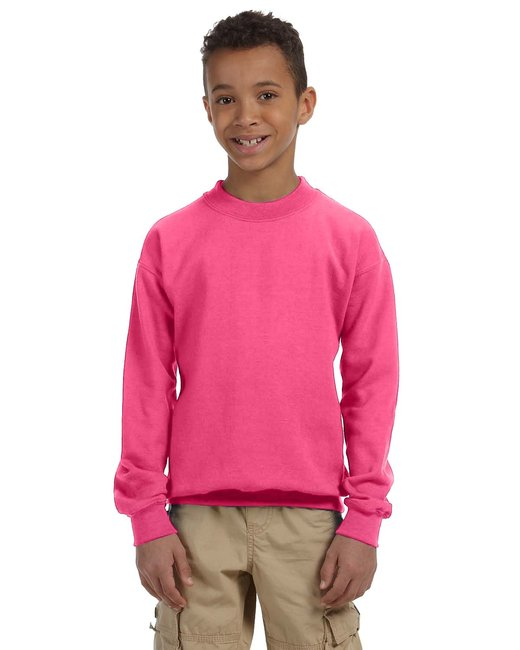 Gildan Youth Heavy Blend 8 oz., 50/50 Fleece Crew - Safety Pink