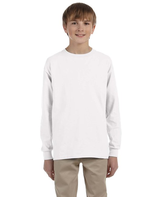 Gildan Youth Ultra Cotton 6 oz. Long-Sleeve T-Shirt - White