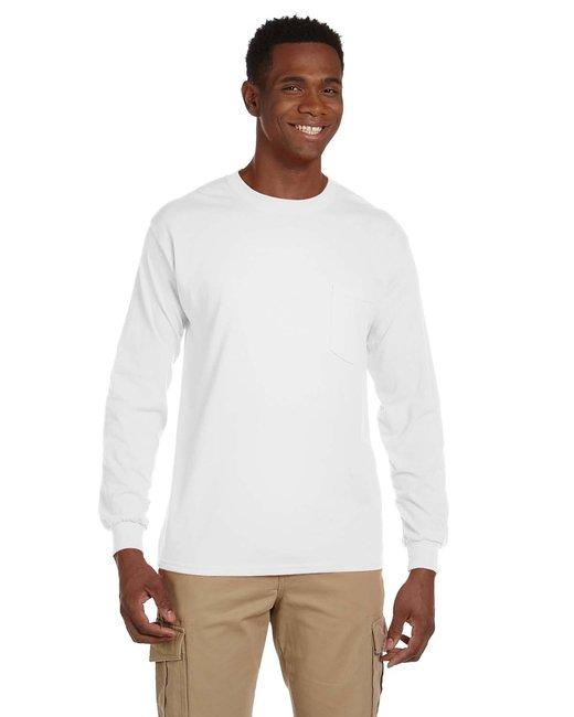 Gildan Adult Ultra Cotton 6 oz. Long-Sleeve Pocket T-Shirt - White
