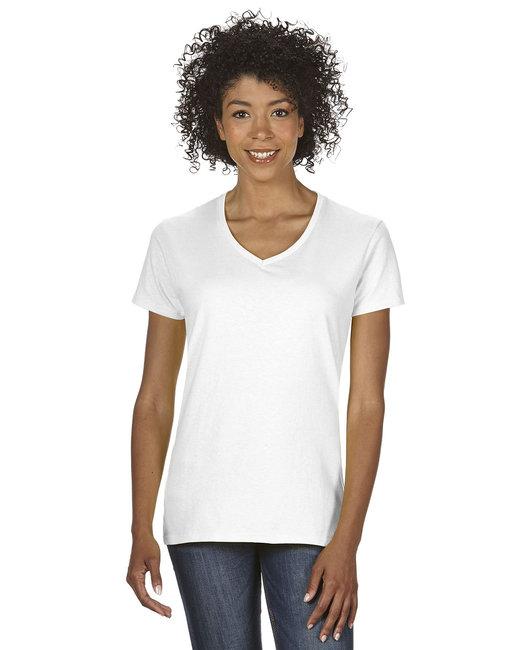 Gildan Ladies'   Heavy Cotton 5.3 oz. V-Neck T-Shirt - White