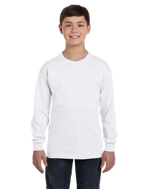Gildan Youth  Heavy Cotton 5.3oz. Long-Sleeve T-Shirt - White