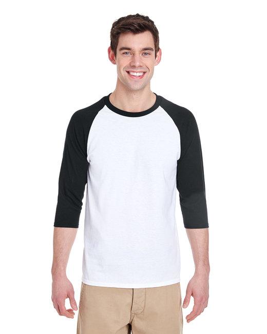 Gildan Adult  Heavy Cotton 5.3 oz. 3/4-Raglan Sleeve T-Shirt - White/ Black