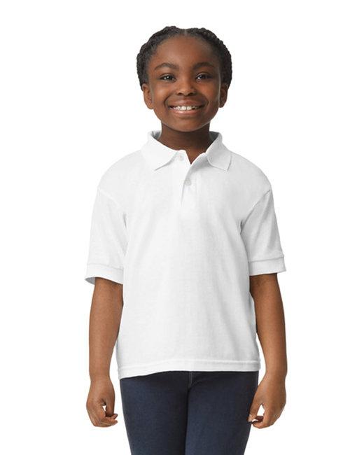 Gildan Youth 6 oz., 50/50 Jersey Polo - White