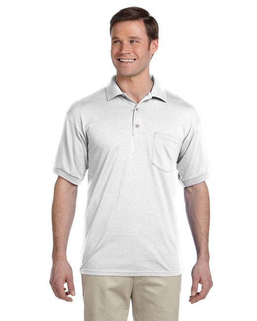 Gildan Adult 6 oz., 50/50 Jersey Polo with Pocket - White