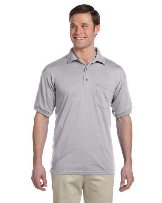 Gildan Adult 6 oz., 50/50 Jersey Polo with Pocket - Sport Grey