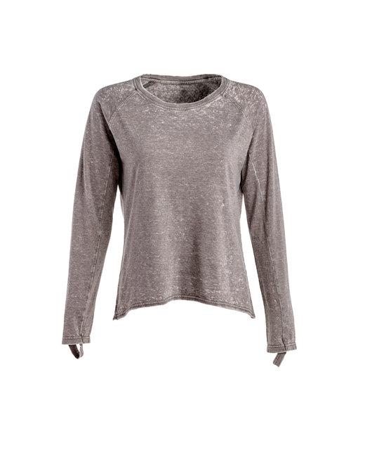 J America Ladies' Zen Jersey Hi-Low Long-Sleeve T-Shirt - Cement