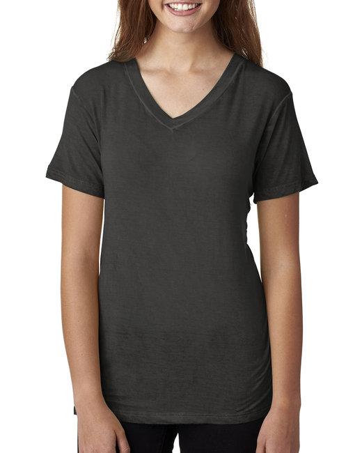 J America Ladies' Oasis Wash V-Neck T-Shirt - Dark Smoke