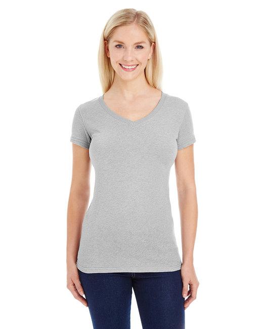 J America Ladies' Glitter V-Neck T-Shirt - Oxford