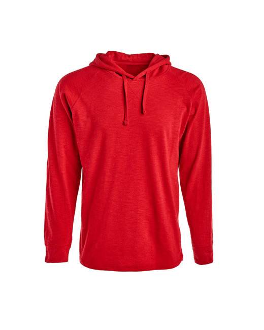 J America Adult Vintage Slub Knit Pullover Hooded Sweatshirt - Simply Red