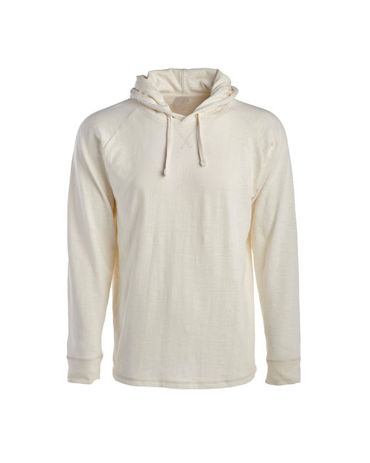 J America Adult Vintage Slub Knit Pullover Hooded Sweatshirt - Antique White