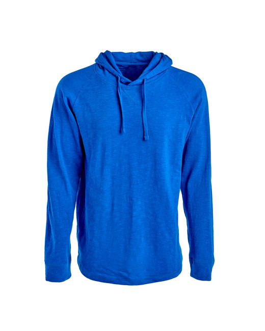 J America Adult Vintage Slub Knit Pullover Hooded Sweatshirt - Vintage Royal