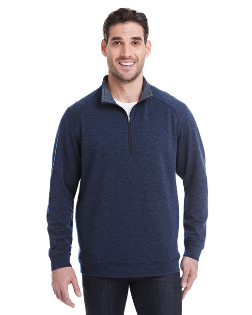 J America Adult Omega Stretch Quarter-Zip - Navy Triblend