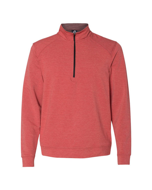 J America Adult Omega Stretch Quarter-Zip - Red Triblend