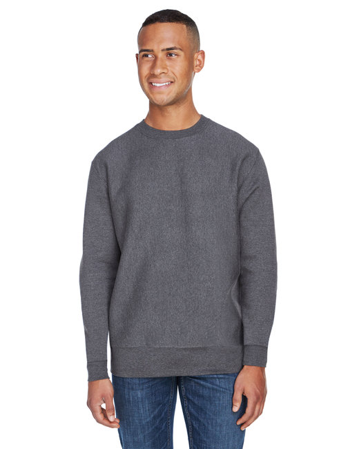 J America Adult Sport Weave Crew Neck Sweatshirt - Charcoal