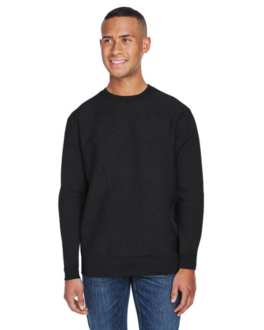 J America Adult Sport Weave Crew Neck Sweatshirt - Black