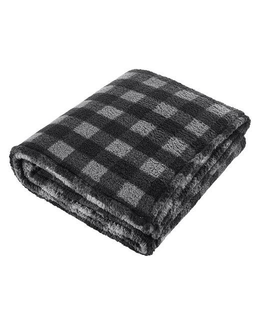 J America Adult Epic Sherpa Blanket - Blk/ Char Buflo