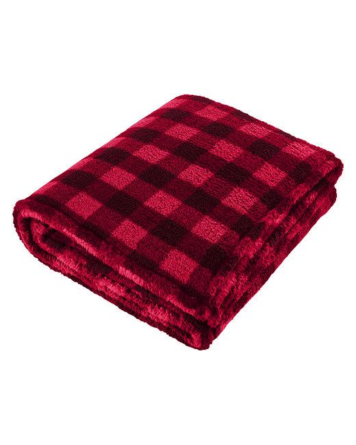 J America Adult Epic Sherpa Blanket - Red/ Blk Buffalo
