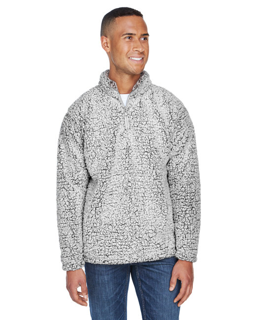 J America Adult Epic Sherpa Quarter-Zip - Black Heather