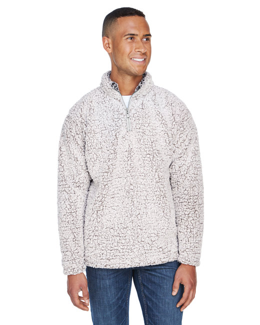J America Adult Epic Sherpa Quarter-Zip - Oatmeal Heather