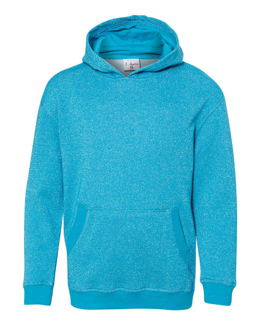 J America Youth Glitter French Terry Pullover Hood - Maui Blue