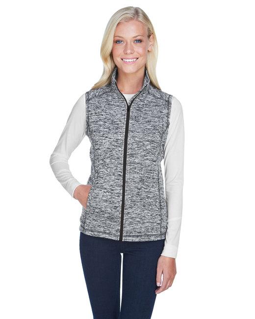 J America Ladies' Lasic Cosmic Fleece Vest - Char Flk/ Black