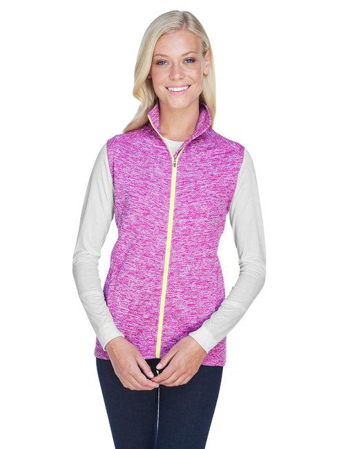 J America Ladies' Lasic Cosmic Fleece Vest - Magenta/ Neon Yl